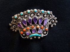 Richard Salas Crown Pin/Brooch Turquoise by HeartbeatHandmade