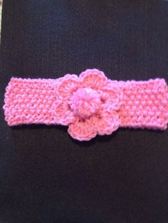 Hand Knitted Girls Head Band with Crocheted Flower on Etsy, $12.00