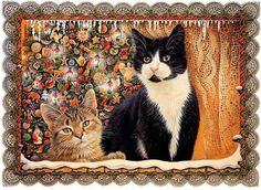 Christmas Cat paintings.  - Lesley Ann Ivory