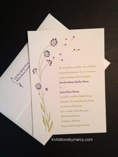 Letterpress wedding invitation Vermont wedding  Wildflowers  Plum and moss ink