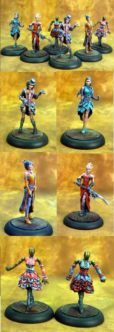 Wyrd Malifaux Colette Crew Nice work, just wish they had used a grey-neutral background, so I could see the paint better