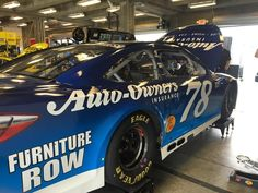 """Time to roll out the Auto-Owners Insurance #78 for the first time at #IMS"" #NASCAR #FurnitureRow #ToyotaNation #MartinTruex"