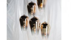 The Fade pendant's graceful teardrop shape is blow moulded from polycarbonate and finished in a stunning metallic that literally fades from reflective to transparent. The combination of a tapered silhouette and gradient finish focus the bulb's output