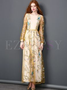 Shop for high quality Vintage Mesh Embroidery Lace Tight Waist Maxi Dress online at cheap prices and discover fashion at Ezpopsy.com