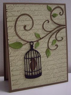 New bird cage paper handmade cards ideas Bird Cards, Butterfly Cards, Cricut Cards, Stampin Up Cards, Memory Box Cards, Marianne Design, Animal Cards, Card Tags, Creative Cards