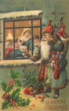 Santa outside window in green