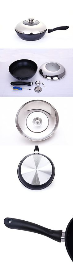 Agniers Nonstick Cooker/SautГ© Pan Black 11-inch Deep Frying Pan Cookware with Stainless Steel Lid