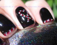 Sparkly Vernis: Candy Cane tips, Christmas