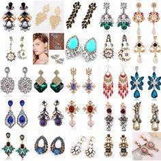 1 Pair New Elegant Women Vintage Style Fashion Rhinestone Dangle Stud Earrings…