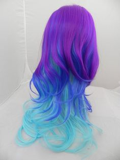 20% OFF SALE Neon Galaxy / Purple, Dark Clue and Aqua Blue / Long Curly Wavy Layered Wig Cosplay Costume Halloween Ombre. $123.25, via Etsy.