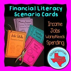 $ Personal Financial Literacy Scenario Cards are great for getting kids to critically think about financial decisions. #income #financialliteracy #math personal finance resources, personal finance tips #PF