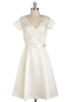 Black Tie Optimal Dress in Ivory - white vintage look dress, could be wedding dress, 50s style