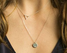 Dainty Necklace Set, Layering Necklaces, Floating Triangle & Small Disk Necklaces / Delicate Set of 2 Necklaces by Layered and Long LS919