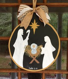 Nativity Wooden Door Hanger / Manger Scene by SouthernWhimsyStyle