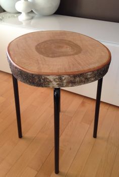 Stump Table with Metal Legs Wood & Metal Side by SerenityStumps