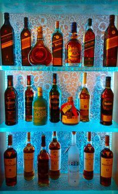 LED Glass bar shelving for your liquor! Studio L Glassworks