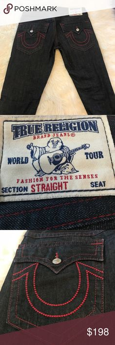 True religion jeans! True religion red and black jeans! In like new condition! Red stitching pops! Premium quality jeans!!! True Religion Jeans Straight