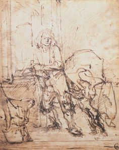 Rembrandt van Rijn Drawings JAN SIX WITH A DOG, STANDING BY AN OPEN WINDOW 220 x 175 mm. c. 1647 Six Collection