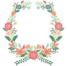 Vintage Flowers Wreath vector art illustration