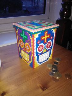 hand made hama sugar skull money box piggy bank day of the dead perler fuse bead | eBay