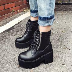 2c4750ba 25.45 45% de DESCUENTO|Aliexpress.com: Comprar Gdgydh venta al por mayor otoño  botas de tobillo para las mujeres de la motocicleta botas Chunky tacones ...