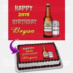 Beer 02 pre-cut Edible Icing Cake Topper or Ribbon Easy to use