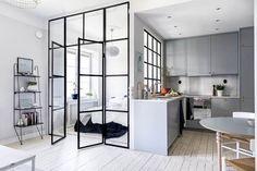 Chic Glass Partition Design Ideas For Your Living Room Modern Studio Apartment Ideas, Apartment Interior Design, Modern Interior Design, Room Interior, Modern Loft Apartment, Studio Apartment Kitchen, Studio Apartment Floor Plans, Small Apartment Design, Contemporary Apartment