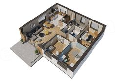 Miarodajny - wariant X Three Bedroom House Plan, Small House Design, Modern House Plans, Home Design Plans, Bungalow, Floor Plans, Layout, Flooring, Rustic