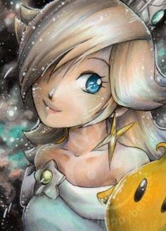 Rosalina - Super Mario Galaxy. The colors are legit. Mad props to whoever did this piece!