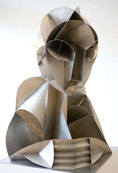 """Constructed Head No. 2"" (1916), by Naum Gabo. Stainless steel; pioneer of constructivism. Photo Nick Atkins"