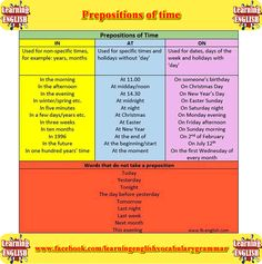 Prepositions of time pictures