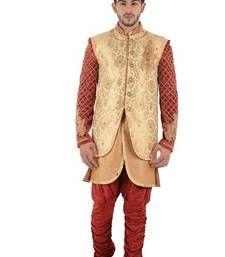 Buy gold embroidered brocade sherwani indo-western-dress online