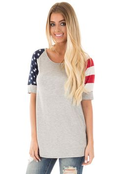 caa256e71 Lime Lush Boutique - Heather Grey American Flag Sleeve Tee, $29.99 (https:/