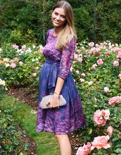 b634c3b28 Navy Blue   Pink Floral Silk Maternity Dress