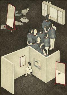 """Illustrazione di Lisa Passaniti realizzata per la mostra """"I primi dieci"""" che festeggia il decennale del corso di fumetto con le opere di giovani diplomati."""