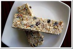 "Grain-Free Granola Bars.  Ingredients: ""safe"" nuts and seeds, dried fruit, coconut oil, honey (or other ""safe"" liquid sweetner), spash vanilla, salt, cinnamon"