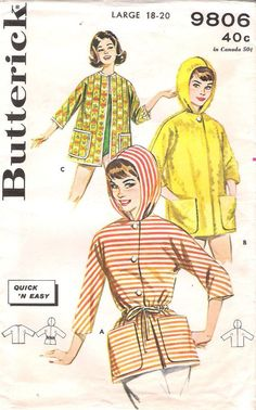 1960s Butterick 9806 Sewing Pattern Beach Coverup with Hood, offered by GrandmaMadeWithLove on Etsy
