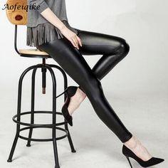 Black women leggings faux leather high quality slim leggings plus size High elasticity sexy pants leggins free size C#
