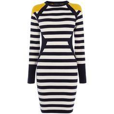 Karen Millen Stripe Knit Dress ($185) ❤ liked on Polyvore featuring dresses, women dresses, blue long sleeve dress, blue knee length dress, striped knit dress, knee length dresses and knit dress