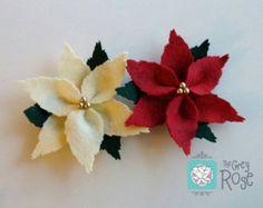 Christmas poinsettia ornaments set of 3 handmade di CraftsbyBeba