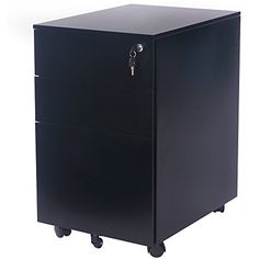 Merax Solid Metal Mobile File Cabinet with 2 Lockable Castors Fully Assembled Except for Castors Black *** Read more reviews of the product by visiting the link on the image.(It is Amazon affiliate link) #HomeOfficeFitting