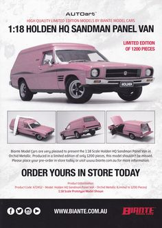 scale Holden HQ Sandman Panel Van in Orchid Metallic with Roof Racks and Surfboards. Model features opening doors, tailgate and bonnet to reveal detailed engine. Comes with certificate of authenticity. This model is due quarter of Limited Edition of 1200 Vans Limited Edition, Holden Monaro, Holden Australia, Metallic Colors, Muscle Cars, Surfboard, Vintage Cars, Cool Cars, Car Stuff