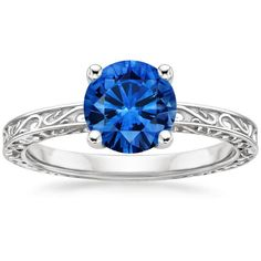 Blue Sapphire Delicate Antique Scroll Solitaire Engagement Ring - Platinum
