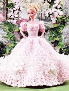 barbie crochet ball gown patterns free | Barbie Doll Sweetheart Ball Gown Dress Crochet Pattern ...