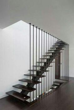 ML House (De JPS Atelier - Arquitectura, Design e Engenharia) Home Stairs Design, Railing Design, Interior Stairs, House Design, Metal Stairs, Modern Stairs, Staircase Railings, Stairways, Banisters