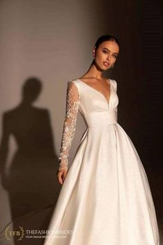 Wona Muse 2021 Spring Bridal Collection – The FashionBrides Elegant Dresses, Formal Dresses, Wedding Dresses, A Line Bridal Gowns, Gowns With Sleeves, Satin Skirt, Wedding Looks, Bridal Collection, Wedding Styles