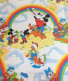 Walt Disney Productions Mickey Daisy Donald Painting a Rainbow Twin Flat Sheet by EastWestVintage1 on Etsy