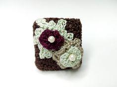 Crochet Ring Βrown Thread Pearl Elegant Crochet by DesignByIrenne