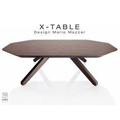 """Table basse """"X-TABLE"""" pour salon, hall et salle d'attente. Finition Wengé."""