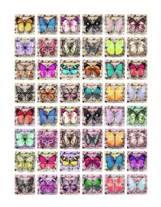 Items similar to Lovely Butterflies Digital Collage ( 130 ) Sheet 1 inch square images for resin pendants magnets glass tiles stickers . on Etsy Papel Vintage, Decoupage Vintage, Vintage Crafts, Tile Crafts, Diy Resin Crafts, Paper Crafts, Paper Toys, Printable Lables, Domino Jewelry